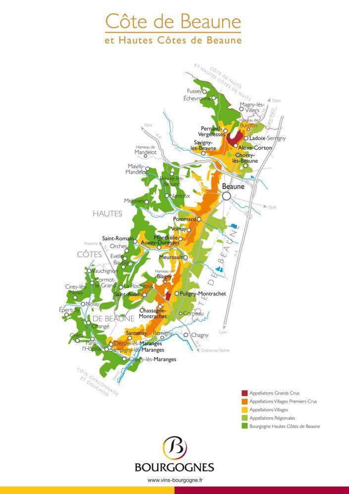 Carte de le Côte de Beaune et Haute Côtes de Beaune